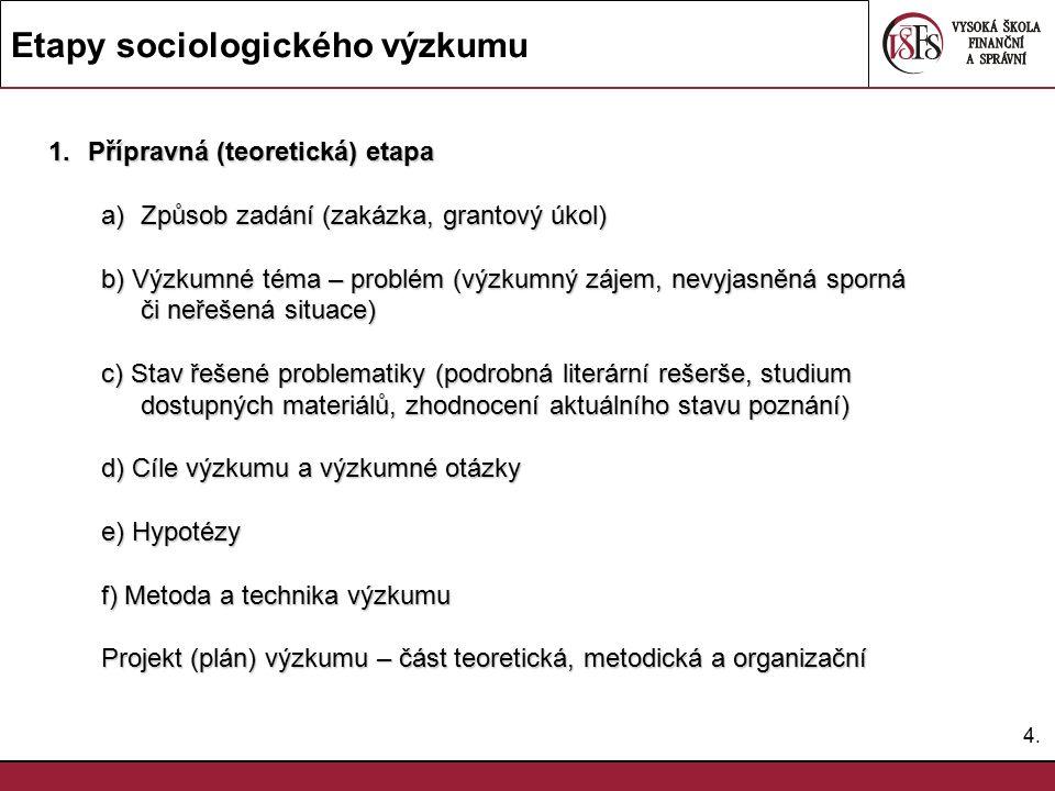 4.4. Etapy sociologického výzkumu 1.Přípravná (teoretická) etapa a)Způsob zadání (zakázka, grantový úkol) b) Výzkumné téma – problém (výzkumný zájem,