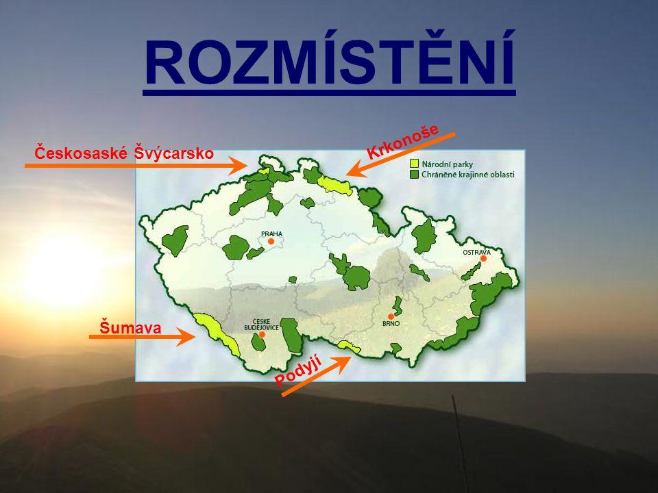 ROZMÍSTĚNÍ Českosaské Švýcarsko Krkonoše Šumava Podyjí