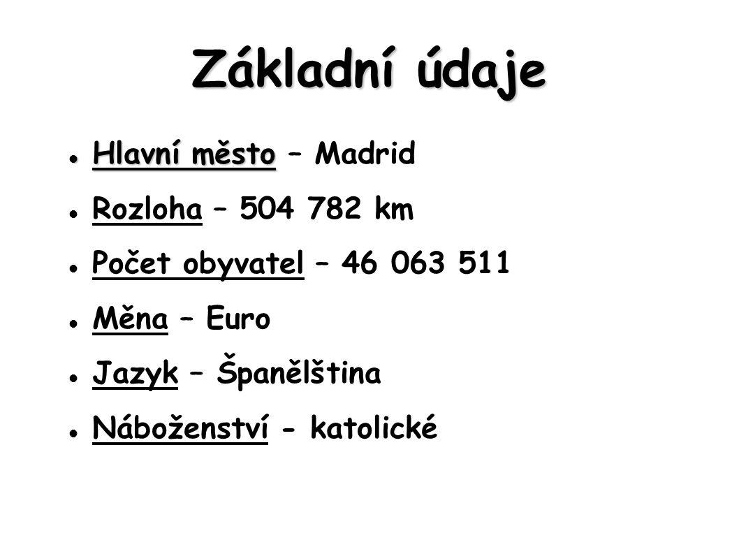 Základní údaje Hlavní město Hlavní město – Madrid Rozloha – 504 782 km Počet obyvatel – 46 063 511 Měna – Euro Jazyk – Španělština Náboženství - katol