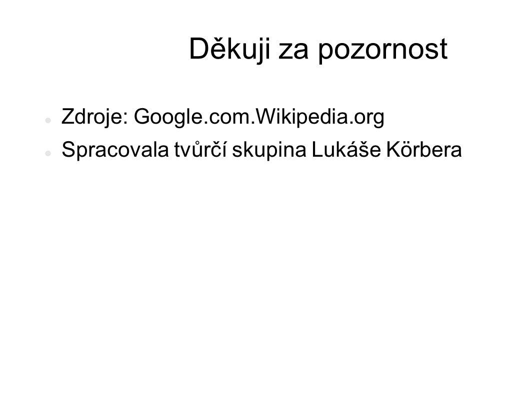 Děkuji za pozornost Zdroje: Google.com.Wikipedia.org Spracovala tvůrčí skupina Lukáše Körbera