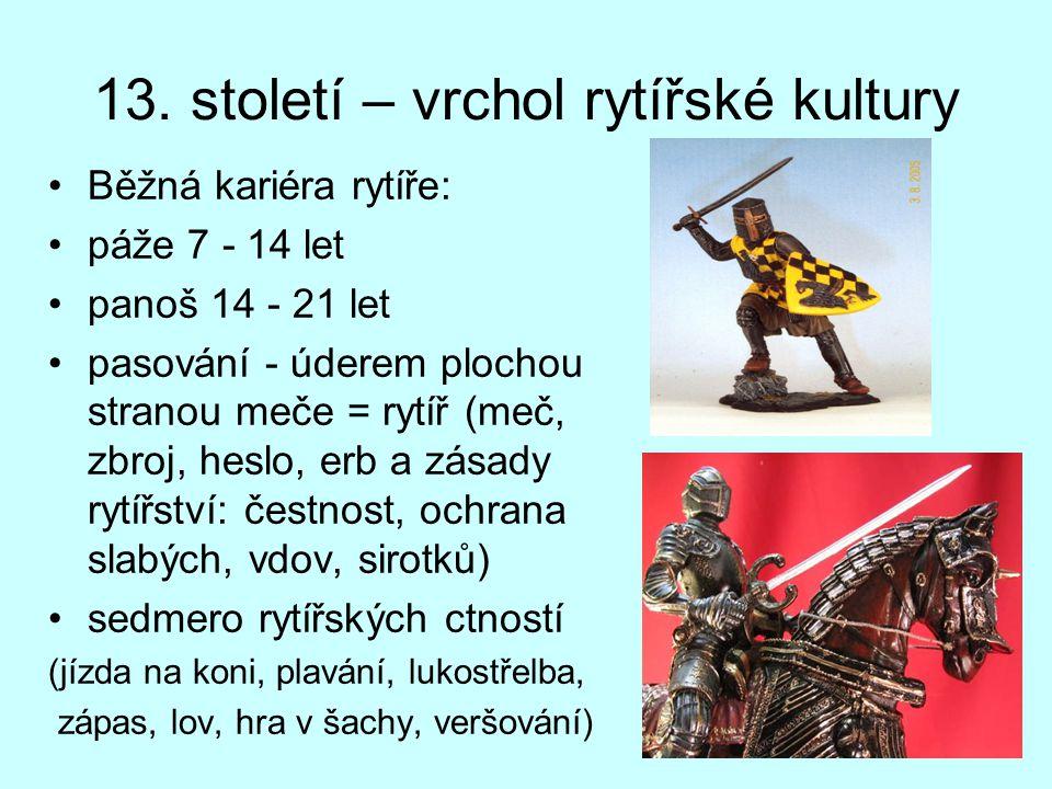 13. století – vrchol rytířské kultury Běžná kariéra rytíře: páže 7 - 14 let panoš 14 - 21 let pasování - úderem plochou stranou meče = rytíř (meč, zbr