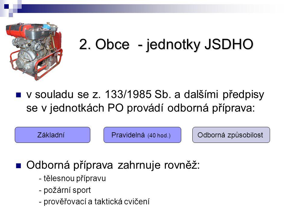 2. Obce - jednotky JSDHO v souladu se z. 133/1985 Sb. a dalšími předpisy se v jednotkách PO provádí odborná příprava: ZákladníPravidelná (40 hod.) Odb