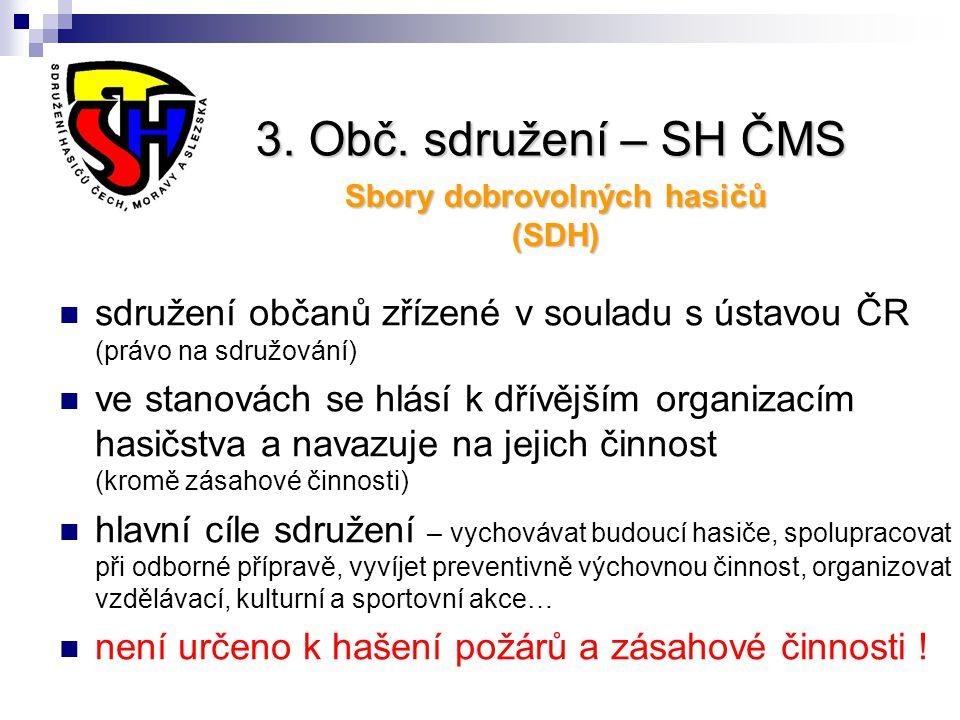 3. Obč. sdružení – SH ČMS Sbory dobrovolných hasičů (SDH) sdružení občanů zřízené v souladu s ústavou ČR (právo na sdružování) ve stanovách se hlásí k