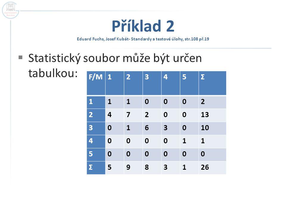 Příklad 2 Eduard Fuchs, Josef Kubát- Standardy a testové úlohy, str.108 př.19  Statistický soubor může být určen tabulkou: F/M12345Σ 1110002 24720013 30163010 4000011 5000000 Σ5983126