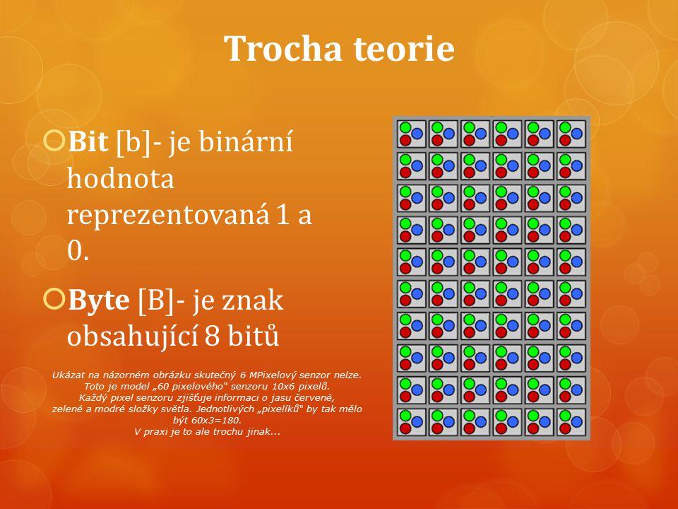 Trocha teorie  Bit [b]- je binární hodnota reprezentovaná 1 a 0.  Byte [B]- je znak obsahující 8 bitů Ukázat na názorném obrázku skutečný 6 MPixelov
