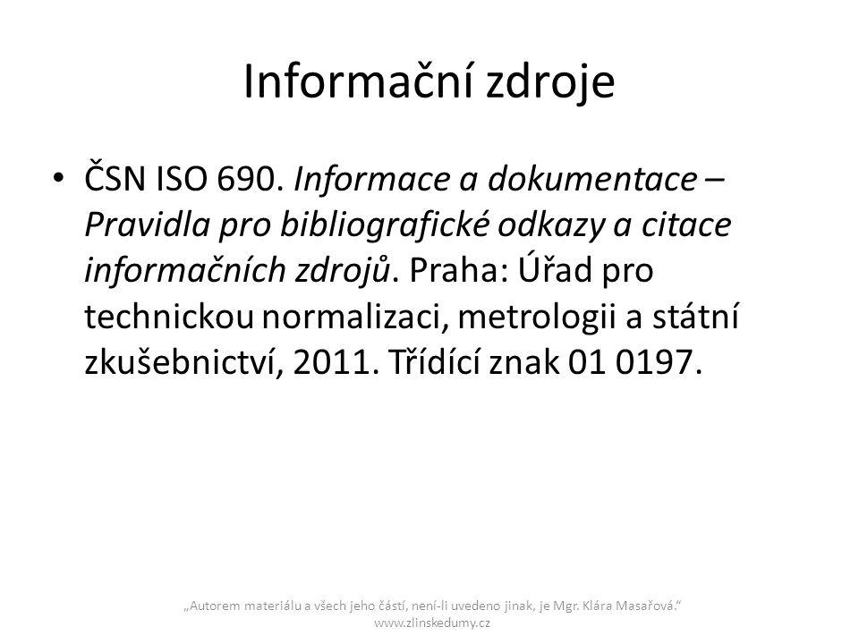 Informační zdroje ČSN ISO 690.