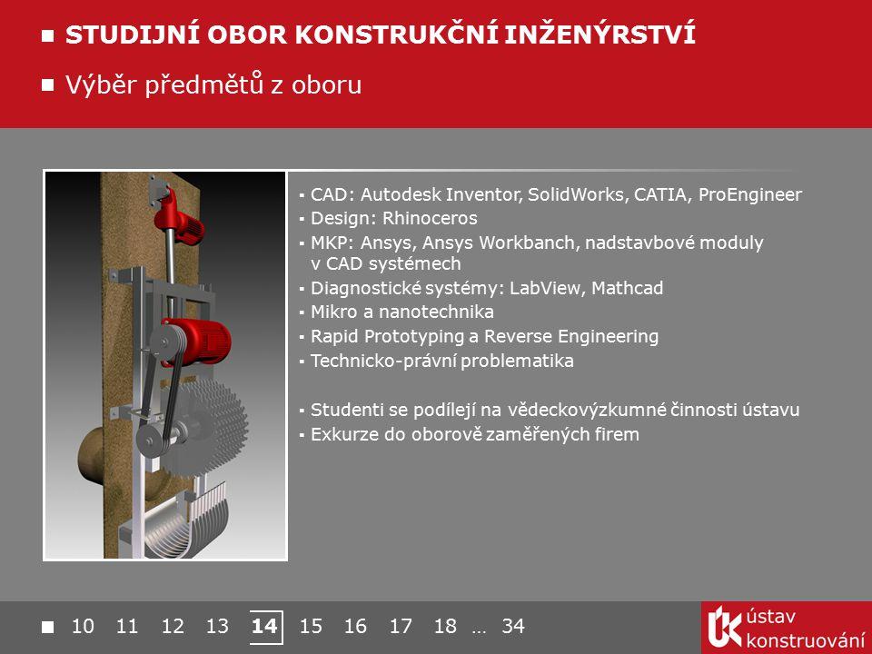 10 11 12 13 14 15 16 17 18 … 34 Výběr předmětů z oboru STUDIJNÍ OBOR KONSTRUKČNÍ INŽENÝRSTVÍ ▪ CAD: Autodesk Inventor, SolidWorks, CATIA, ProEngineer