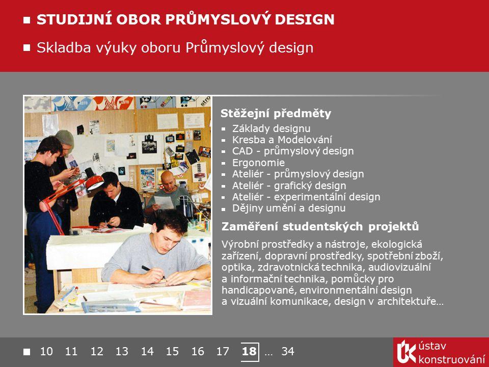 10 11 12 13 14 15 16 17 18 … 34 Skladba výuky oboru Průmyslový design STUDIJNÍ OBOR PRŮMYSLOVÝ DESIGN Stěžejní předměty Základy designu Kresba a Model