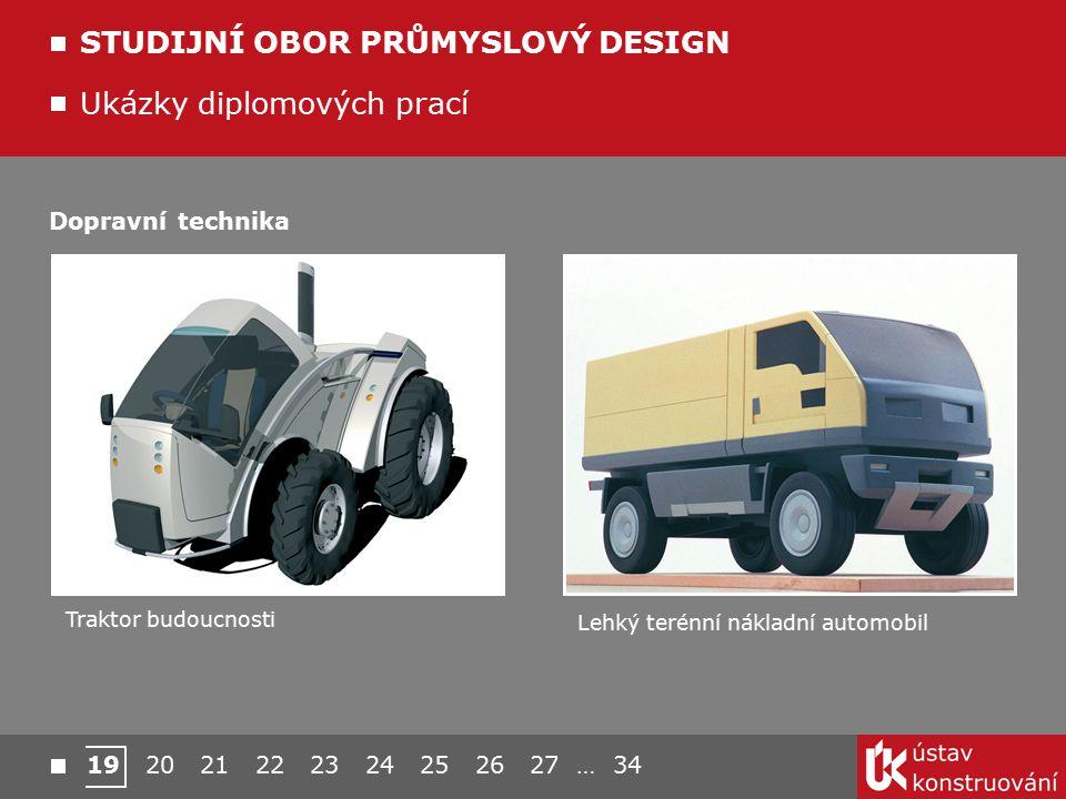 Ukázky diplomových prací STUDIJNÍ OBOR PRŮMYSLOVÝ DESIGN Traktor budoucnosti Lehký terénní nákladní automobil Dopravní technika 19 20 21 22 23 24 25 2
