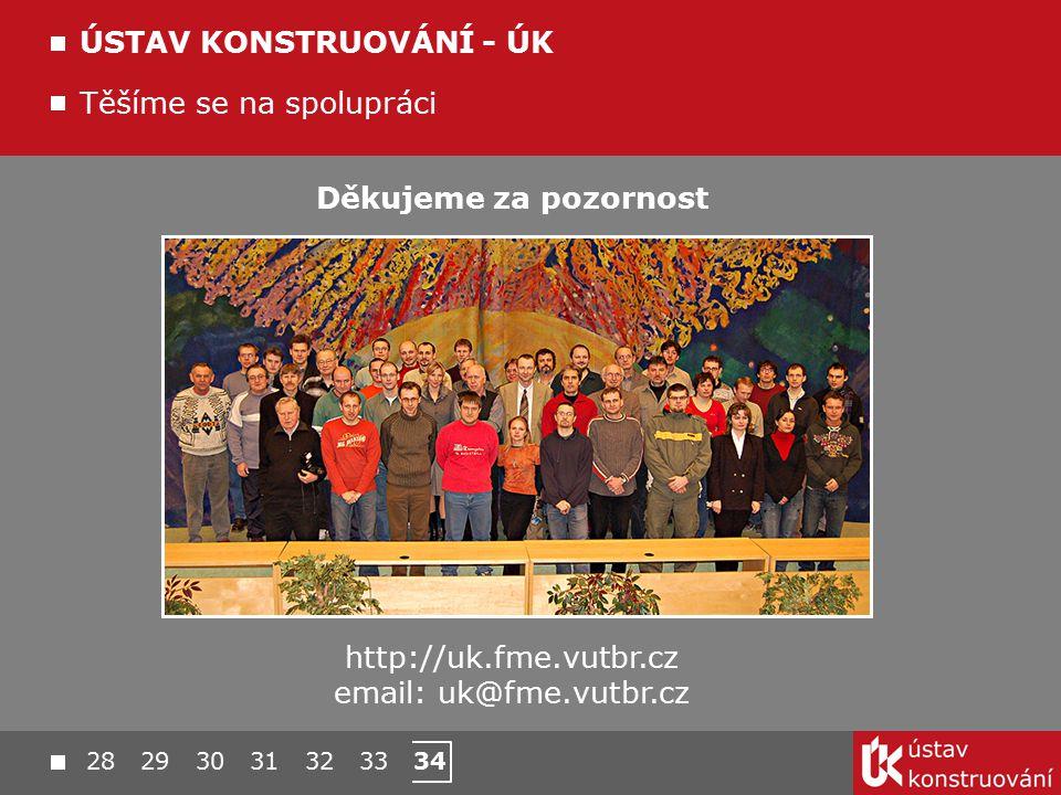 28 29 30 31 32 33 34 Těšíme se na spolupráci ÚSTAV KONSTRUOVÁNÍ - ÚK Děkujeme za pozornost http://uk.fme.vutbr.cz email: uk@fme.vutbr.cz