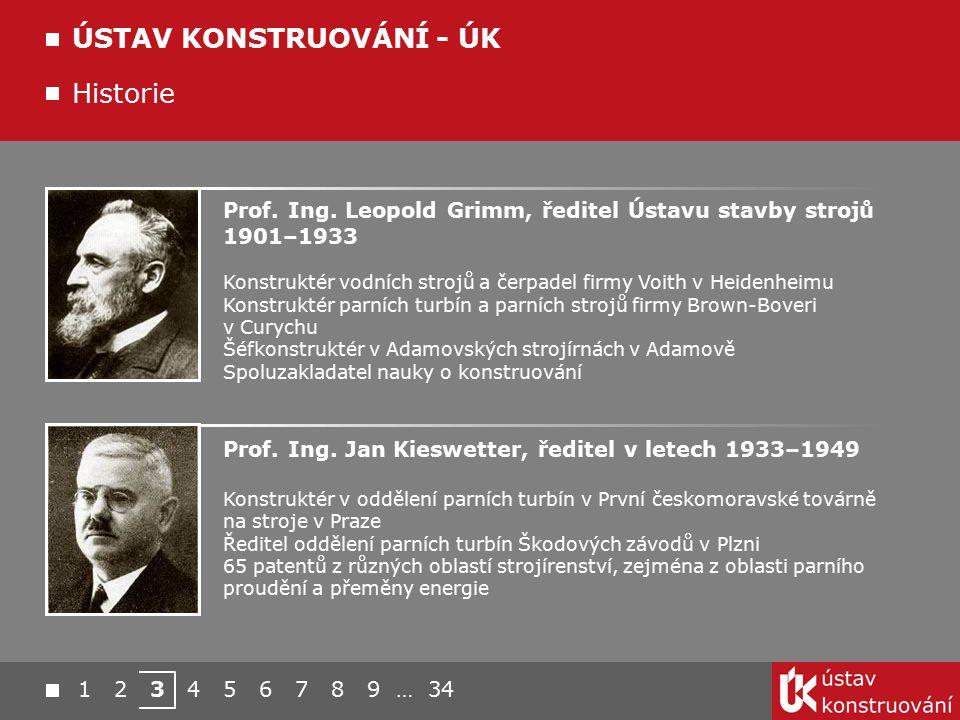 1 2 3 4 5 6 7 8 9 … 34 ÚSTAV KONSTRUOVÁNÍ - ÚK Historie Prof. Ing. Jan Kieswetter, ředitel v letech 1933–1949 Konstruktér v oddělení parních turbín v
