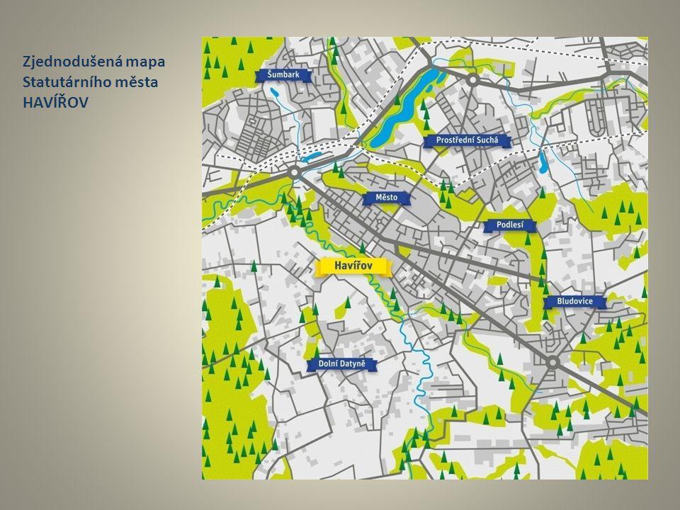 Zjednodušená mapa Statutárního města HAVÍŘOV
