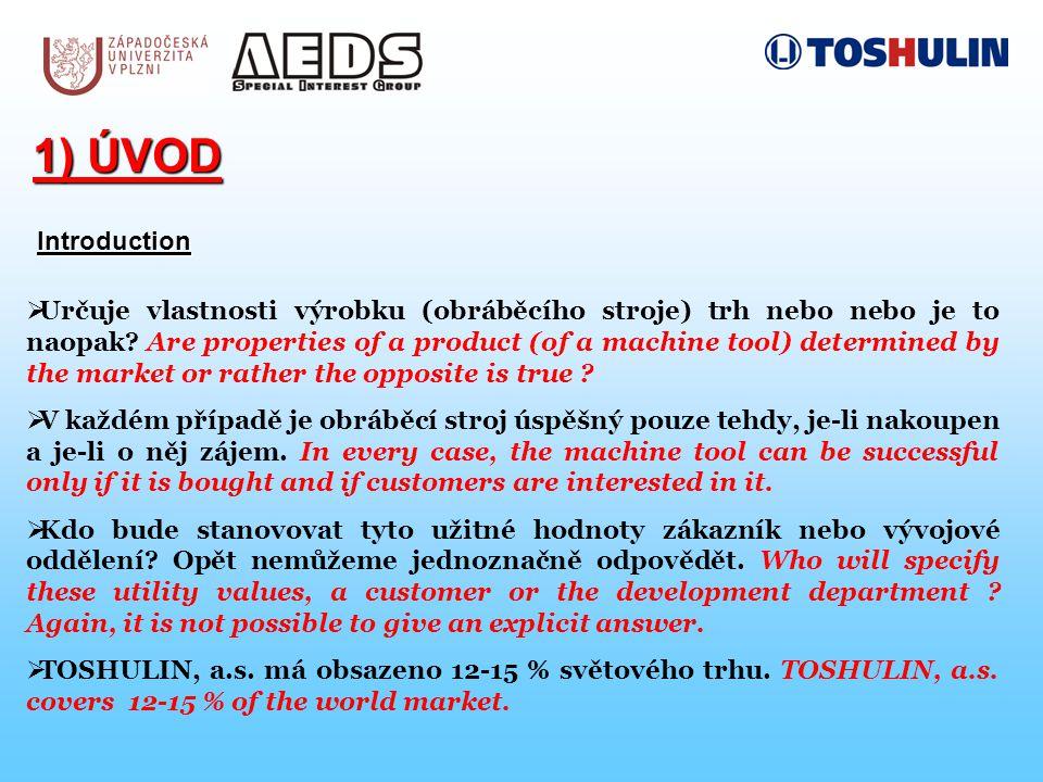 1) ÚVOD Introduction  Určuje vlastnosti výrobku (obráběcího stroje) trh nebo nebo je to naopak.