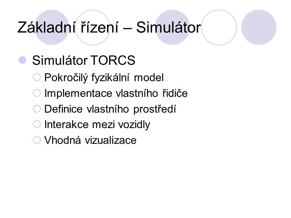 Základní řízení – Simulátor Simulátor TORCS  Pokročilý fyzikální model  Implementace vlastního řidiče  Definice vlastního prostředí  Interakce mezi vozidly  Vhodná vizualizace