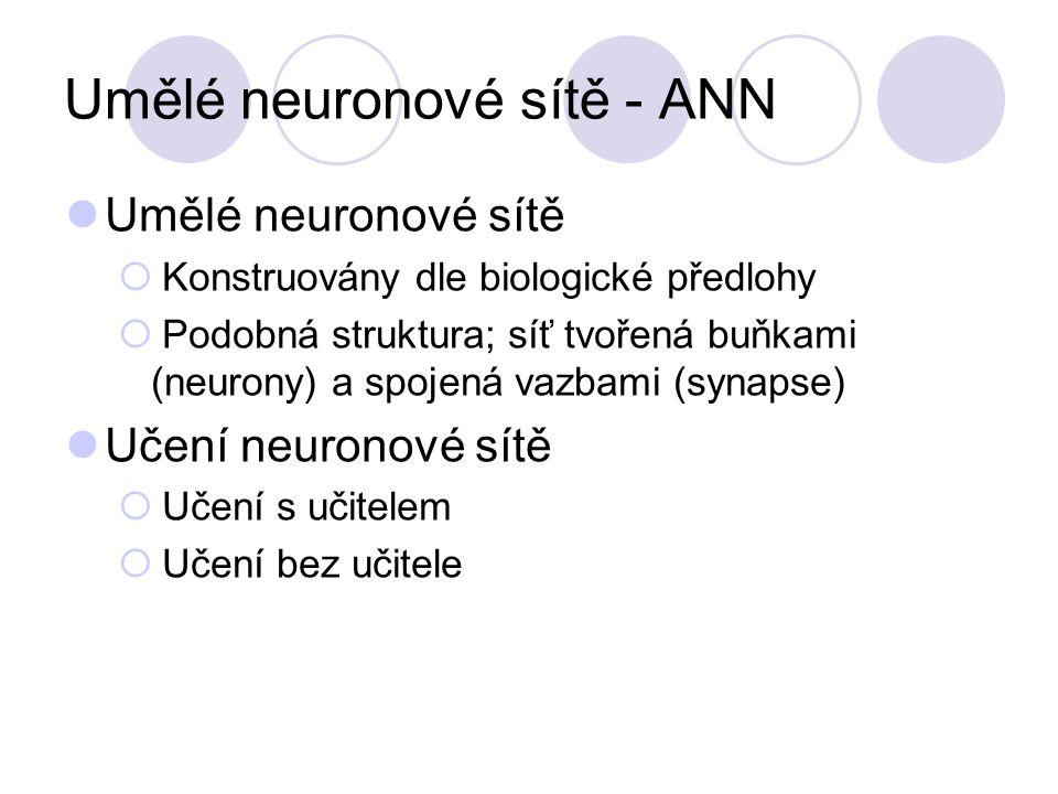 Umělé neuronové sítě - ANN Umělé neuronové sítě  Konstruovány dle biologické předlohy  Podobná struktura; síť tvořená buňkami (neurony) a spojená vazbami (synapse) Učení neuronové sítě  Učení s učitelem  Učení bez učitele