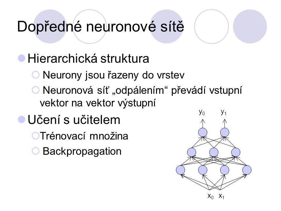 """Dopředné neuronové sítě Hierarchická struktura  Neurony jsou řazeny do vrstev  Neuronová síť """"odpálením převádí vstupní vektor na vektor výstupní Učení s učitelem  Trénovací množina  Backpropagation y0y0 y1y1 x0x0 x1x1"""