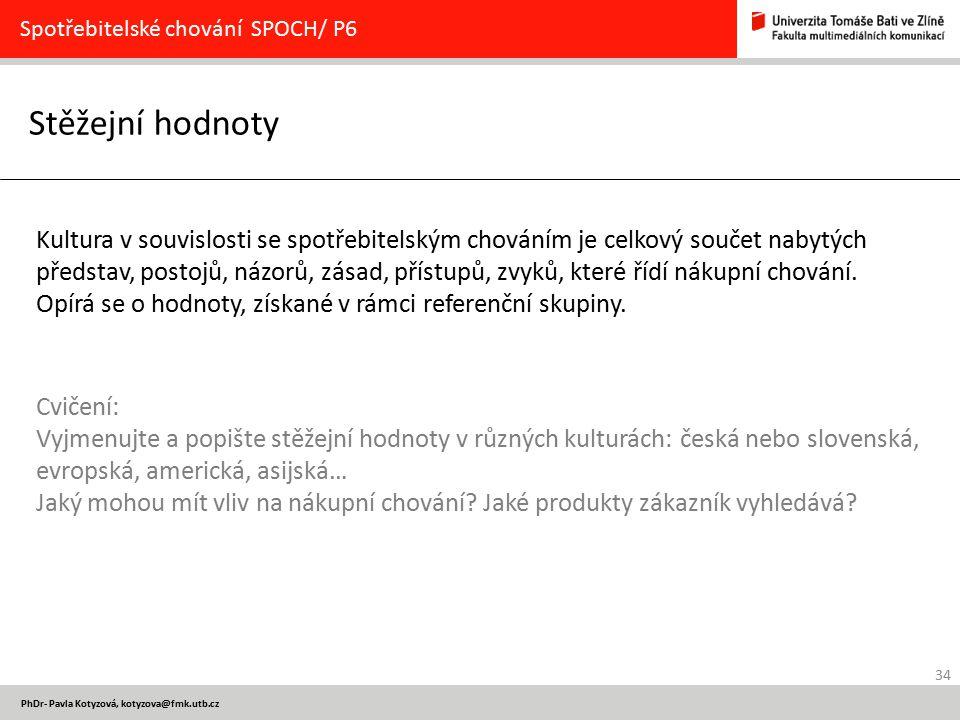 34 PhDr- Pavla Kotyzová, kotyzova@fmk.utb.cz Stěžejní hodnoty Spotřebitelské chování SPOCH/ P6 Kultura v souvislosti se spotřebitelským chováním je ce