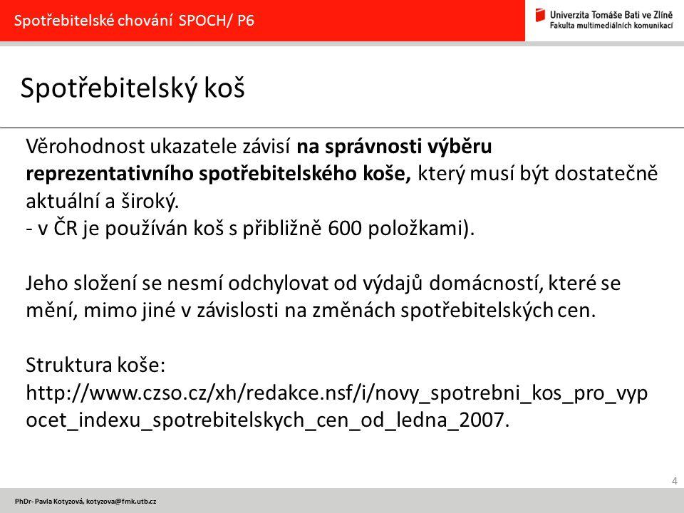 4 PhDr- Pavla Kotyzová, kotyzova@fmk.utb.cz Spotřebitelský koš Spotřebitelské chování SPOCH/ P6 Věrohodnost ukazatele závisí na správnosti výběru repr