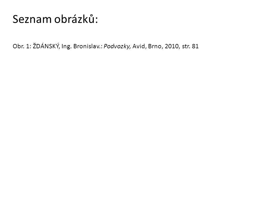 Seznam obrázků: Obr. 1: ŽDÁNSKÝ, Ing. Bronislav.: Podvozky, Avid, Brno, 2010, str. 81