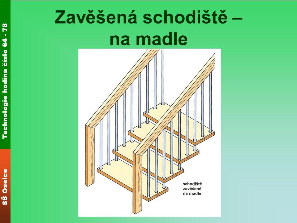 Technologie hodina číslo 64 - 78 SŠ Oselce Zavěšená schodiště Jednotlivé stupně mohou být zavěšeny na obou koncích, zavěšené na jednom konci a druhým koncem vetknuté do schodnice nebo ukotvené do zdi.