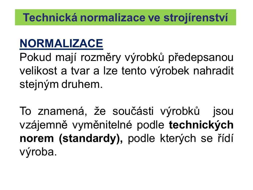 Technická normalizace ve strojírenství NORMALIZACE Pokud mají rozměry výrobků předepsanou velikost a tvar a lze tento výrobek nahradit stejným druhem.