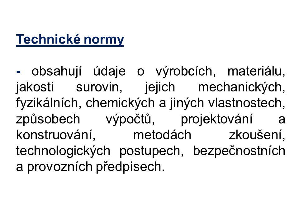Druhy technických norem České technické normy ČSN - používané tam, kde nejsou k dispozici mezinárodní normy.