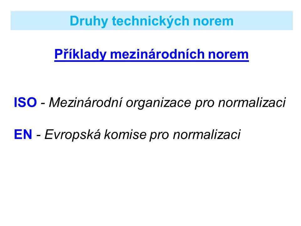 Příklady státních norem DIN - německé státní normy BS - britské státní normy ANSI - normy USA NF - normy francouzské GOST - normy ruské