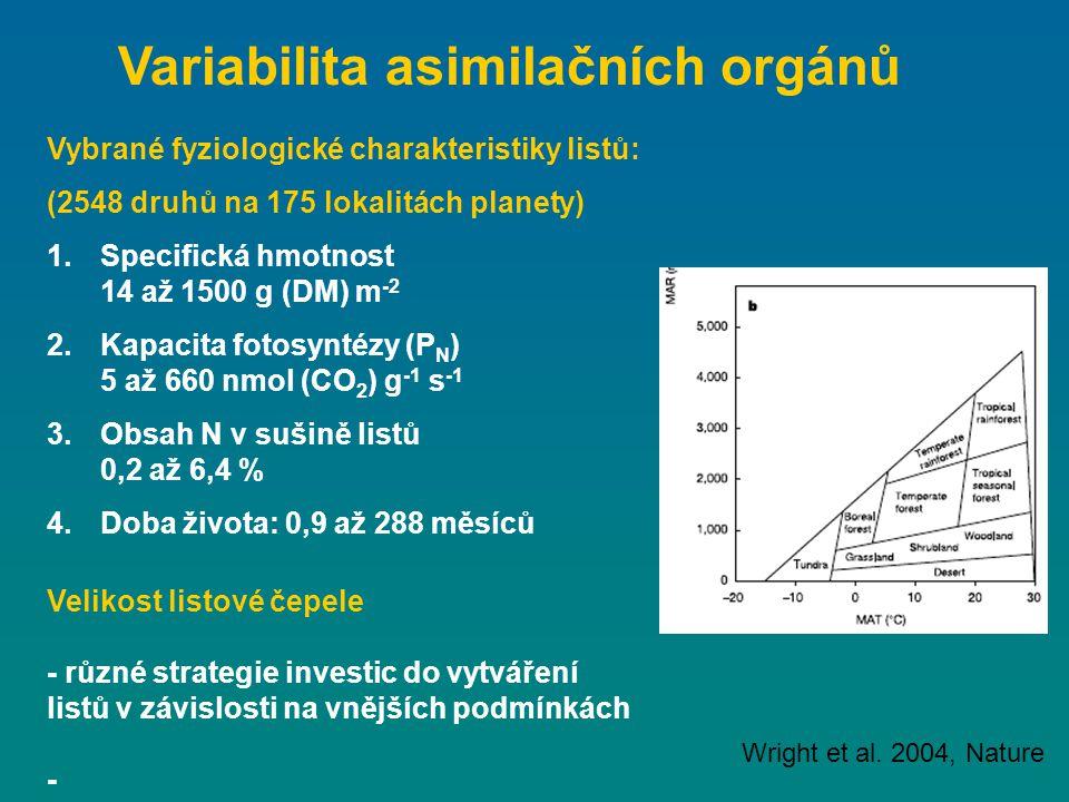 Velikost listové čepele - různé strategie investic do vytváření listů v závislosti na vnějších podmínkách - Wright et al. 2004, Nature Vybrané fyziolo