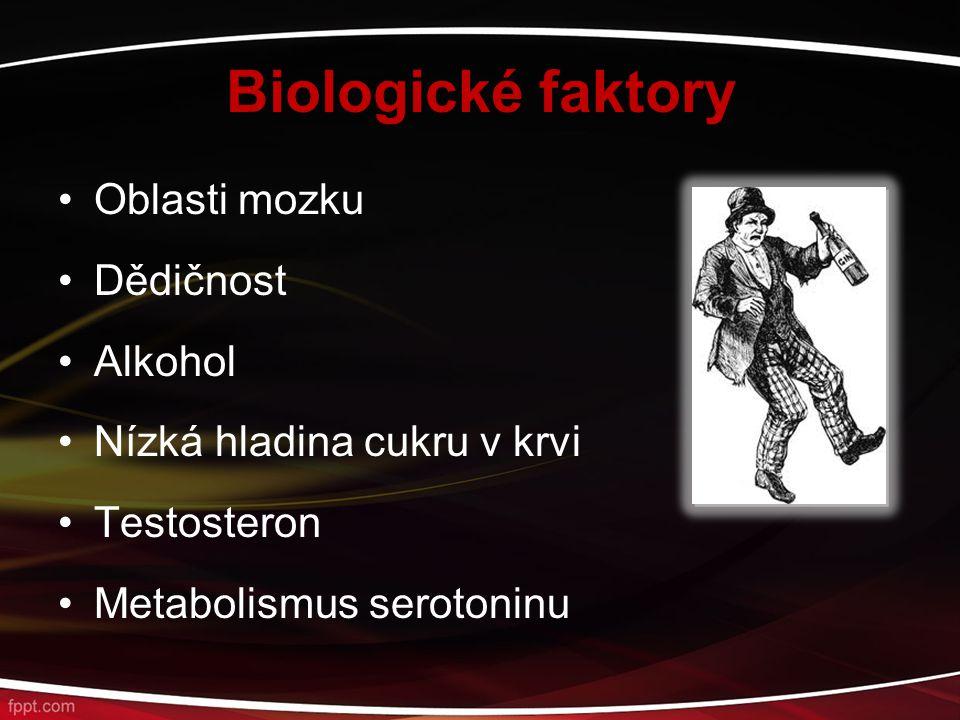 Biologické faktory Oblasti mozku Dědičnost Alkohol Nízká hladina cukru v krvi Testosteron Metabolismus serotoninu