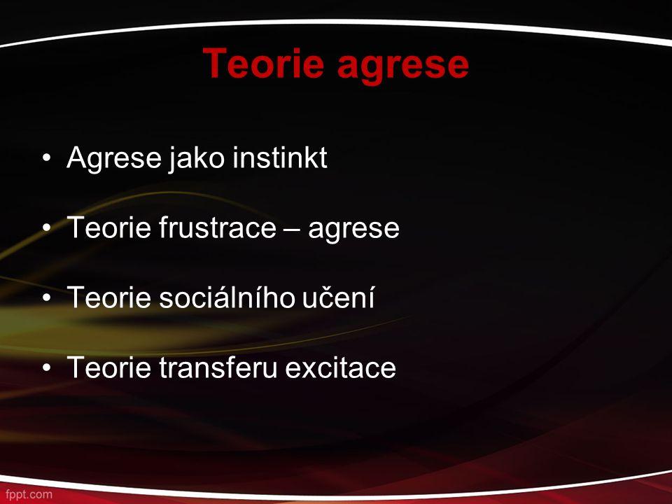 Teorie agrese Agrese jako instinkt Teorie frustrace – agrese Teorie sociálního učení Teorie transferu excitace