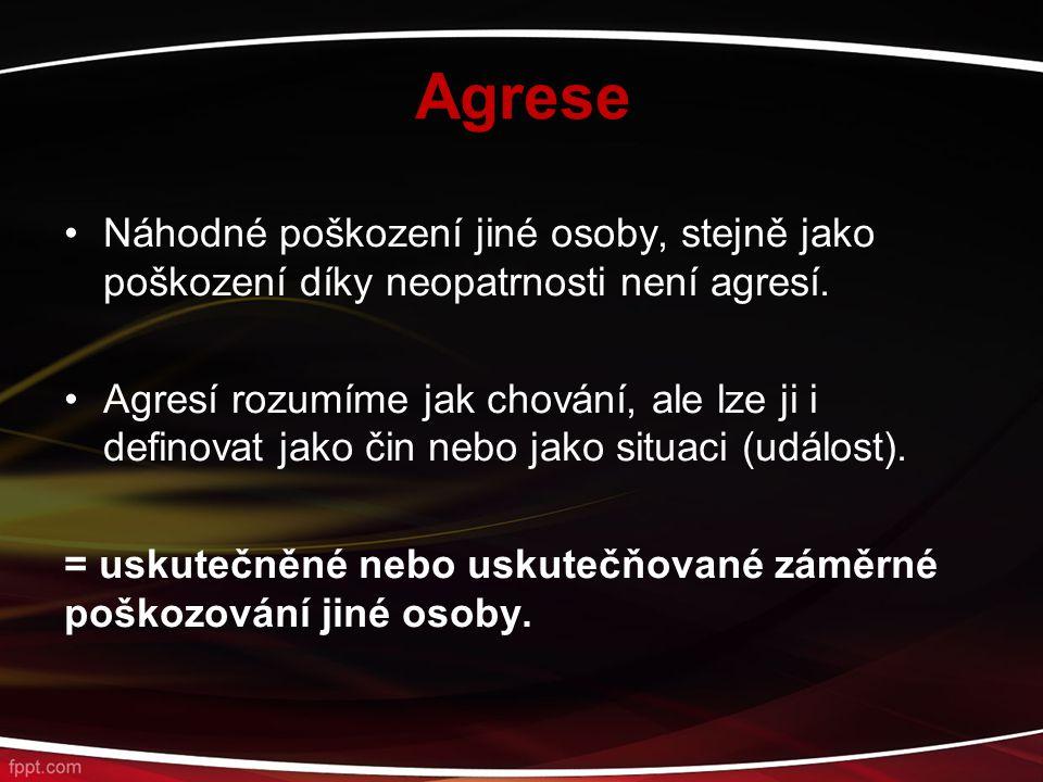 Agrese Náhodné poškození jiné osoby, stejně jako poškození díky neopatrnosti není agresí. Agresí rozumíme jak chování, ale lze ji i definovat jako čin