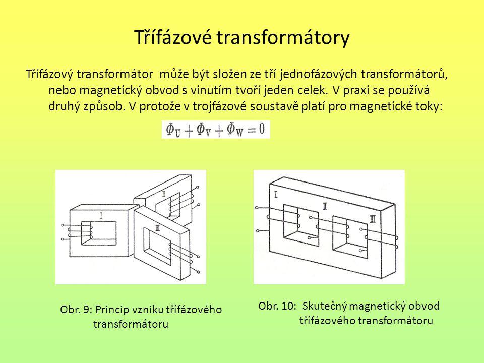 Třífázové transformátory Třífázový transformátor může být složen ze tří jednofázových transformátorů, nebo magnetický obvod s vinutím tvoří jeden celek.
