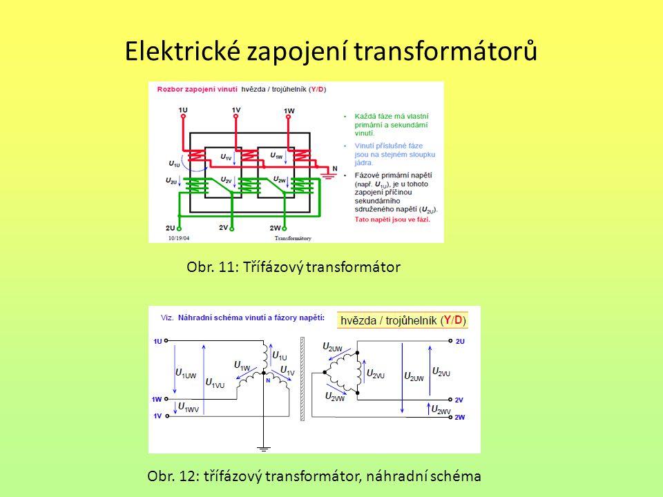 Elektrické zapojení transformátorů Obr. 11: Třífázový transformátor Obr. 12: třífázový transformátor, náhradní schéma