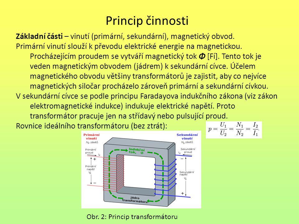 Princip činnosti Základní části – vinutí (primární, sekundární), magnetický obvod. Primární vinutí slouží k převodu elektrické energie na magnetickou.