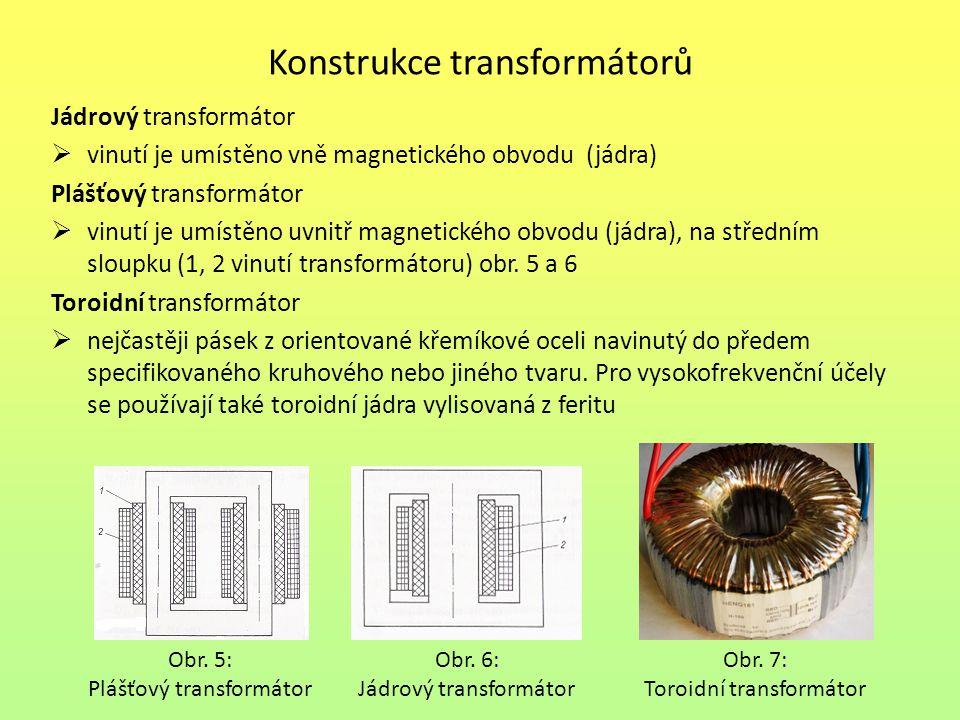 Konstrukce transformátorů Jádrový transformátor  vinutí je umístěno vně magnetického obvodu (jádra) Plášťový transformátor  vinutí je umístěno uvnitř magnetického obvodu (jádra), na středním sloupku (1, 2 vinutí transformátoru) obr.