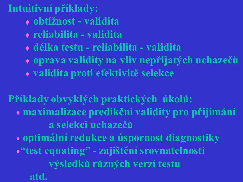 Intuitivní příklady:  obtížnost - validita  reliabilita - validita  délka testu - reliabilita - validita  oprava validity na vliv nepřijatých ucha