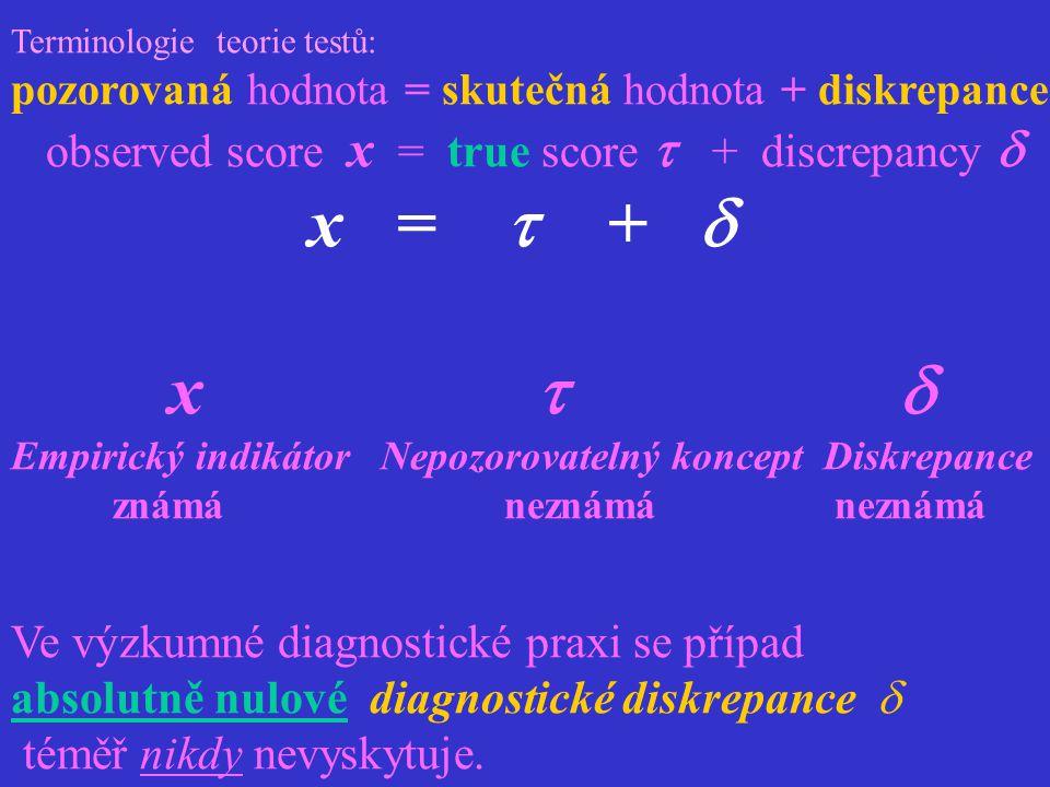 Terminologie teorie testů: pozorovaná hodnota = skutečná hodnota + diskrepance observed score x = true score  + discrepancy  x =  +  x   Empiric