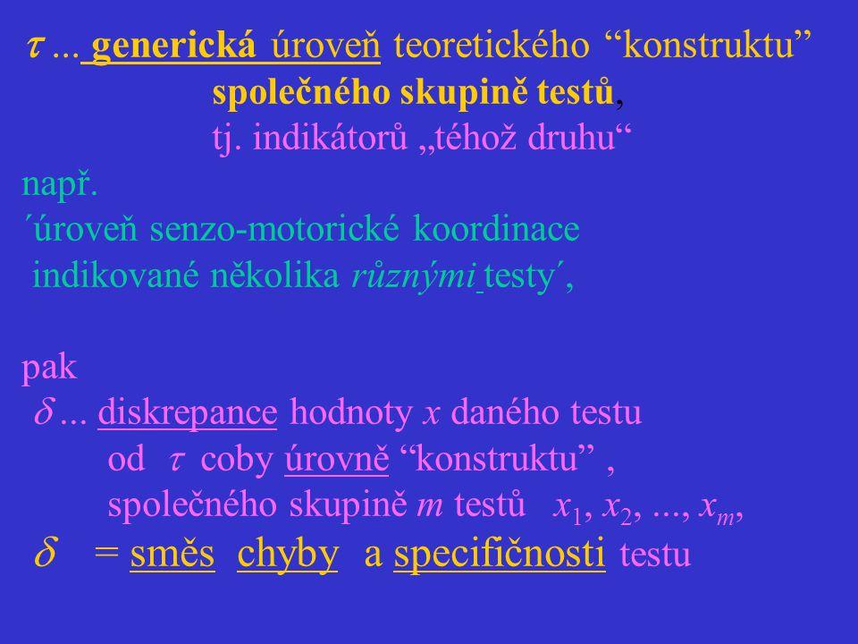 """... generická úroveň teoretického """"konstruktu"""" společného skupině testů, tj. indikátorů """"téhož druhu"""" např. ´úroveň senzo-motorické koordinace indiko"""