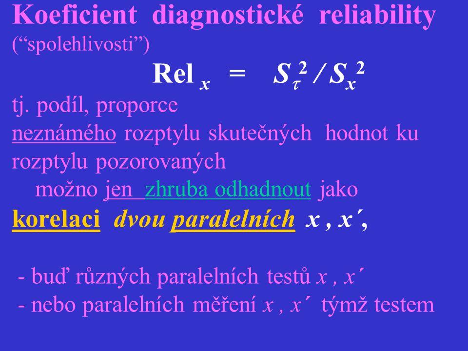 """Koeficient diagnostické reliability (""""spolehlivosti"""") Rel x = S  2 / S x 2 tj. podíl, proporce neznámého rozptylu skutečných hodnot ku rozptylu pozor"""