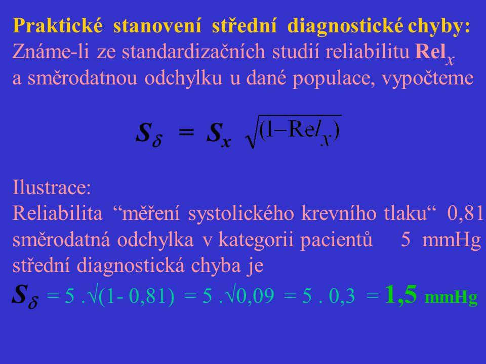 Praktické stanovení střední diagnostické chyby: Známe-li ze standardizačních studií reliabilitu Rel x a směrodatnou odchylku u dané populace, vypočtem