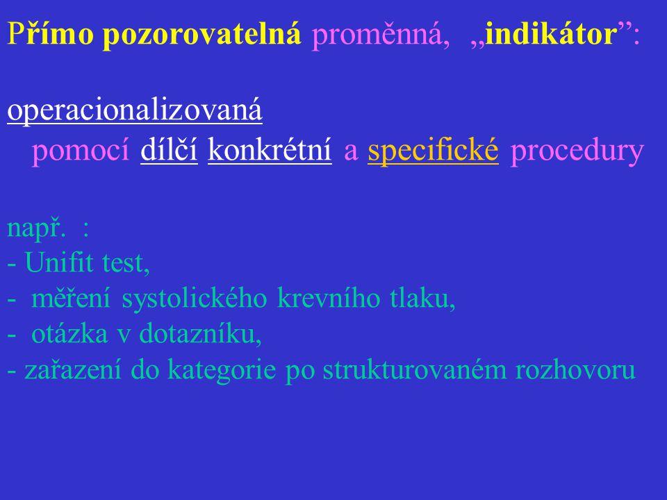 """Přímo pozorovatelná proměnná, """"indikátor"""": operacionalizovaná pomocí dílčí konkrétní a specifické procedury např. : - Unifit test, - měření systolické"""