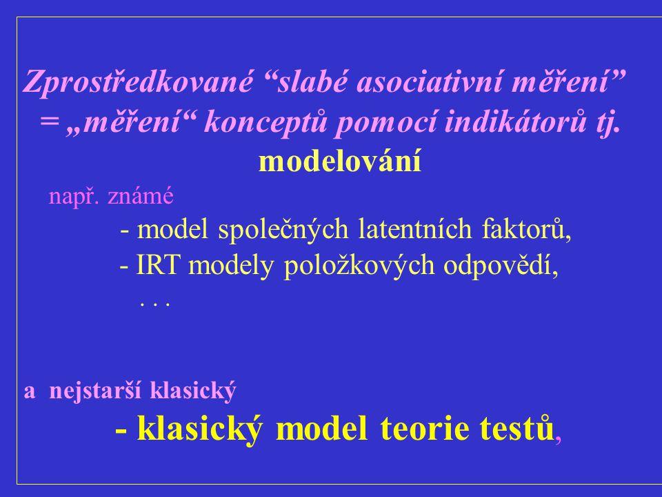 """Zprostředkované """"slabé asociativní měření"""" = """"měření"""" konceptů pomocí indikátorů tj. modelování např. známé - model společných latentních faktorů, - I"""
