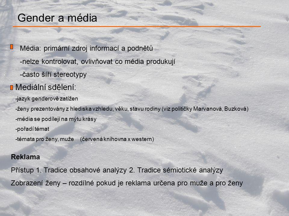 Gender a média Média: primární zdroj informací a podnětů -nelze kontrolovat, ovlivňovat co média produkují -často šíří stereotypy Reklama Přístup 1.