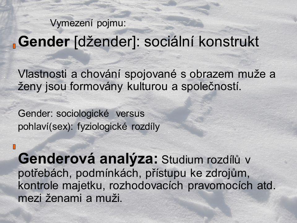 Vymezení pojmu: Gender [džender]: sociální konstrukt Vlastnosti a chování spojované s obrazem muže a ženy jsou formovány kulturou a společností.