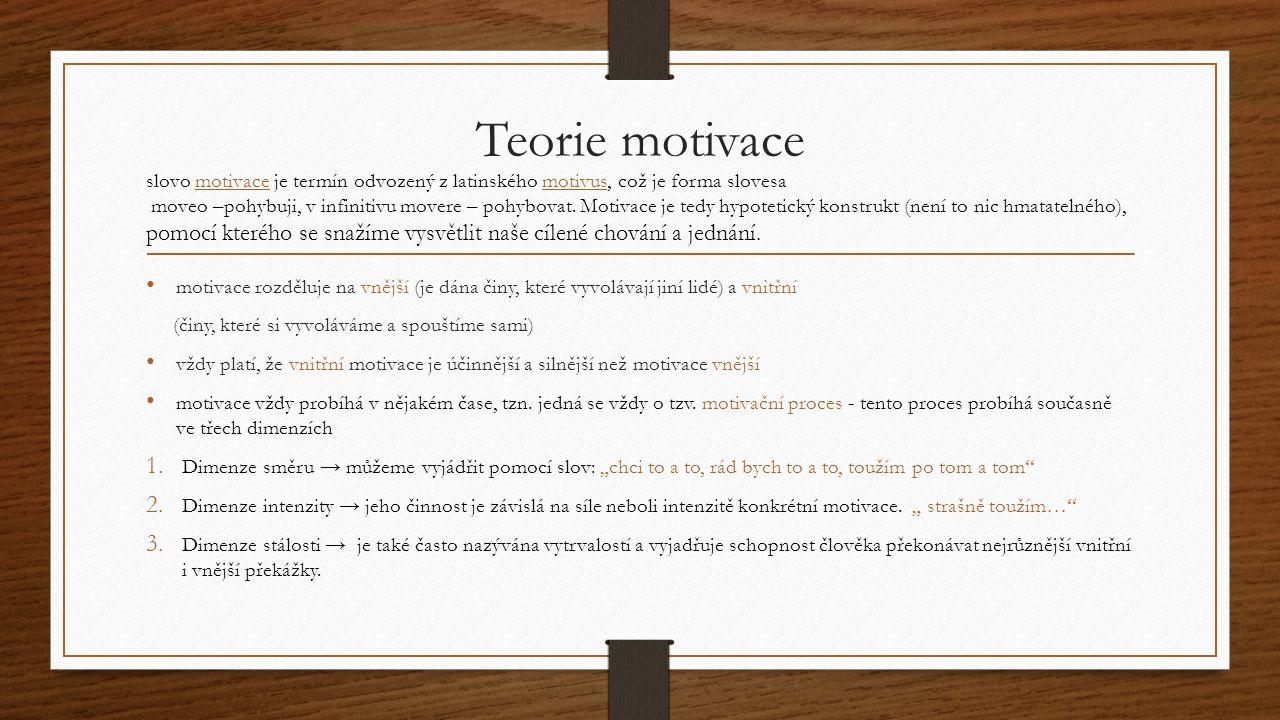 Teorie motivace motivace rozděluje na vnější (je dána činy, které vyvolávají jiní lidé) a vnitřní (činy, které si vyvoláváme a spouštíme sami) vždy pl