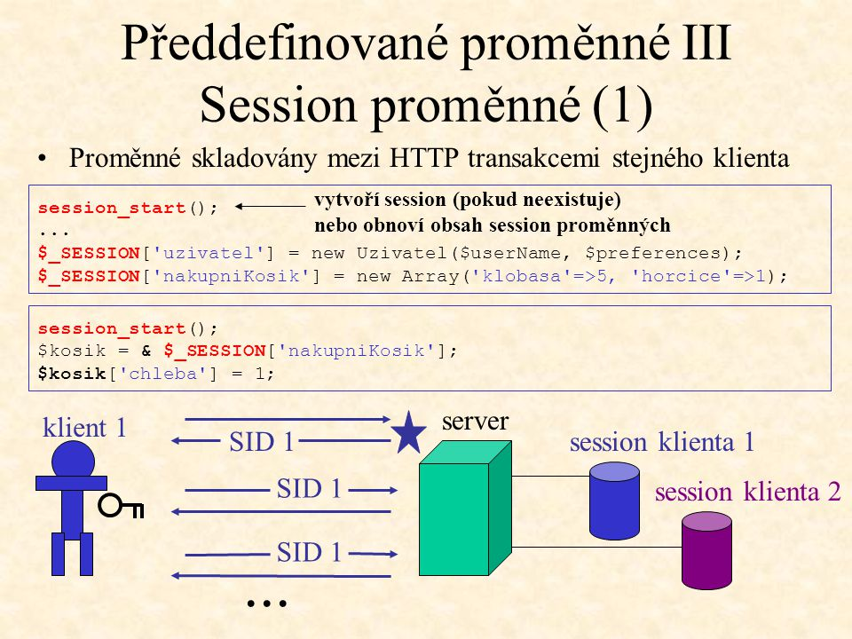 Předdefinované proměnné III Session proměnné (1) session_start();... $_SESSION['uzivatel'] = new Uzivatel($userName, $preferences); $_SESSION['nakupni