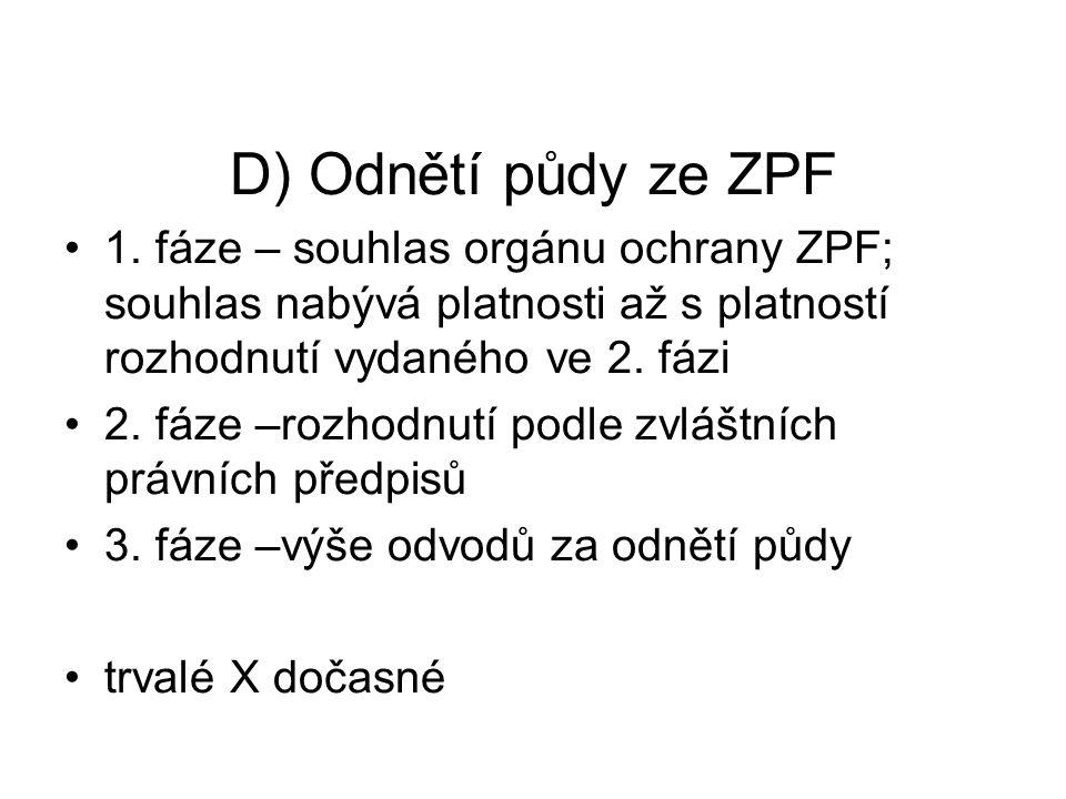 D) Odnětí půdy ze ZPF 1. fáze – souhlas orgánu ochrany ZPF; souhlas nabývá platnosti až s platností rozhodnutí vydaného ve 2. fázi 2. fáze –rozhodnutí