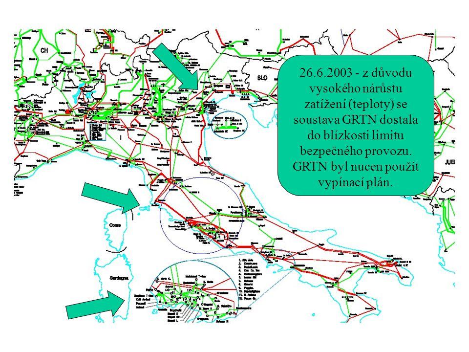 26.6.2003 - z důvodu vysokého nárůstu zatížení (teploty) se soustava GRTN dostala do blízkosti limitu bezpečného provozu. GRTN byl nucen použít vypína