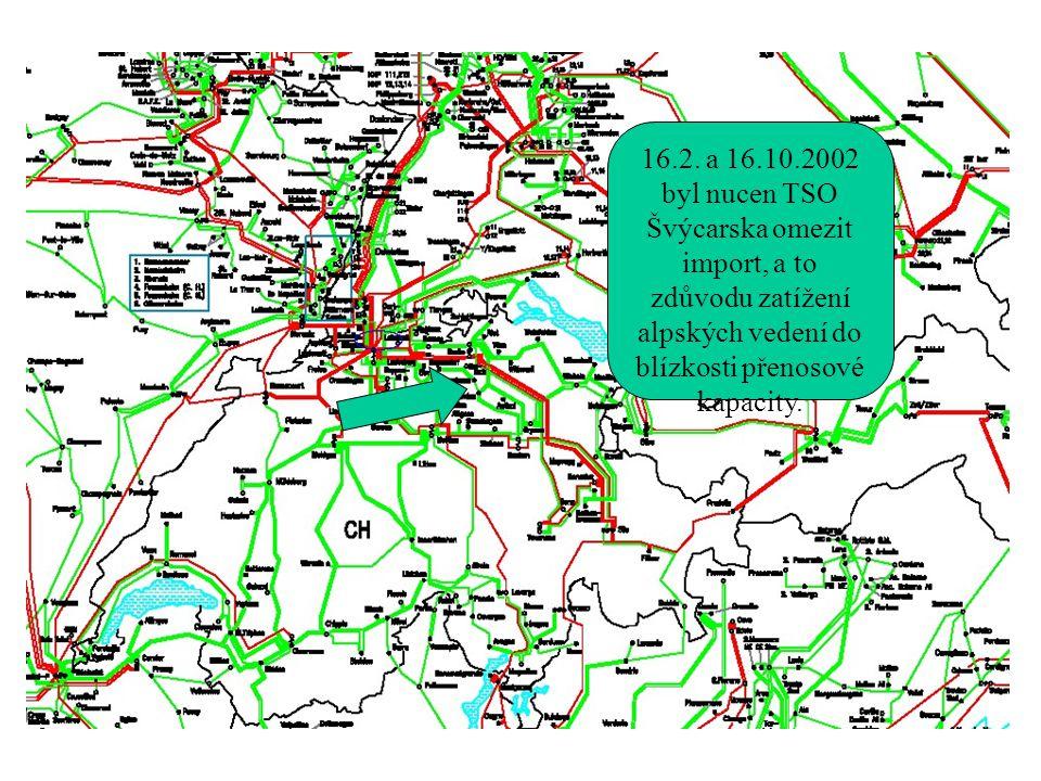 16.2. a 16.10.2002 byl nucen TSO Švýcarska omezit import, a to zdůvodu zatížení alpských vedení do blízkosti přenosové kapacity.