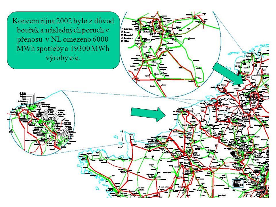 Koncem října 2002 bylo z důvod bouřek a následných poruch v přenosu v NL omezeno 6000 MWh spotřeby a 19300 MWh výroby e/e.